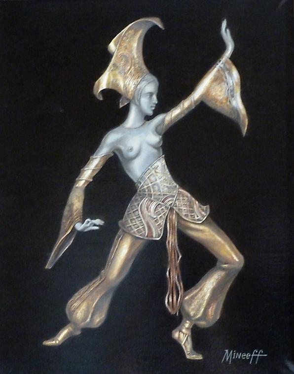 020 Женская фигура на черном в стиле Ар-деко