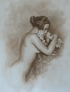 016 Девушка с цветами. Винтаж