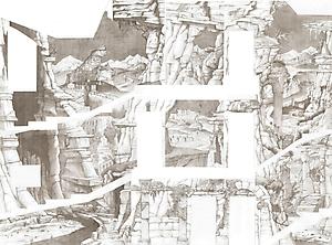 046 Эскиз росписи лестницы. Руины.  Развертка, 3 этажа